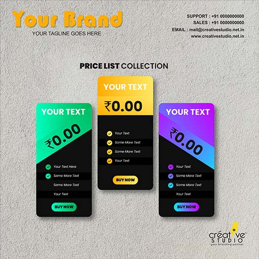 Creative One Pricing Table - Complete Branding Solution