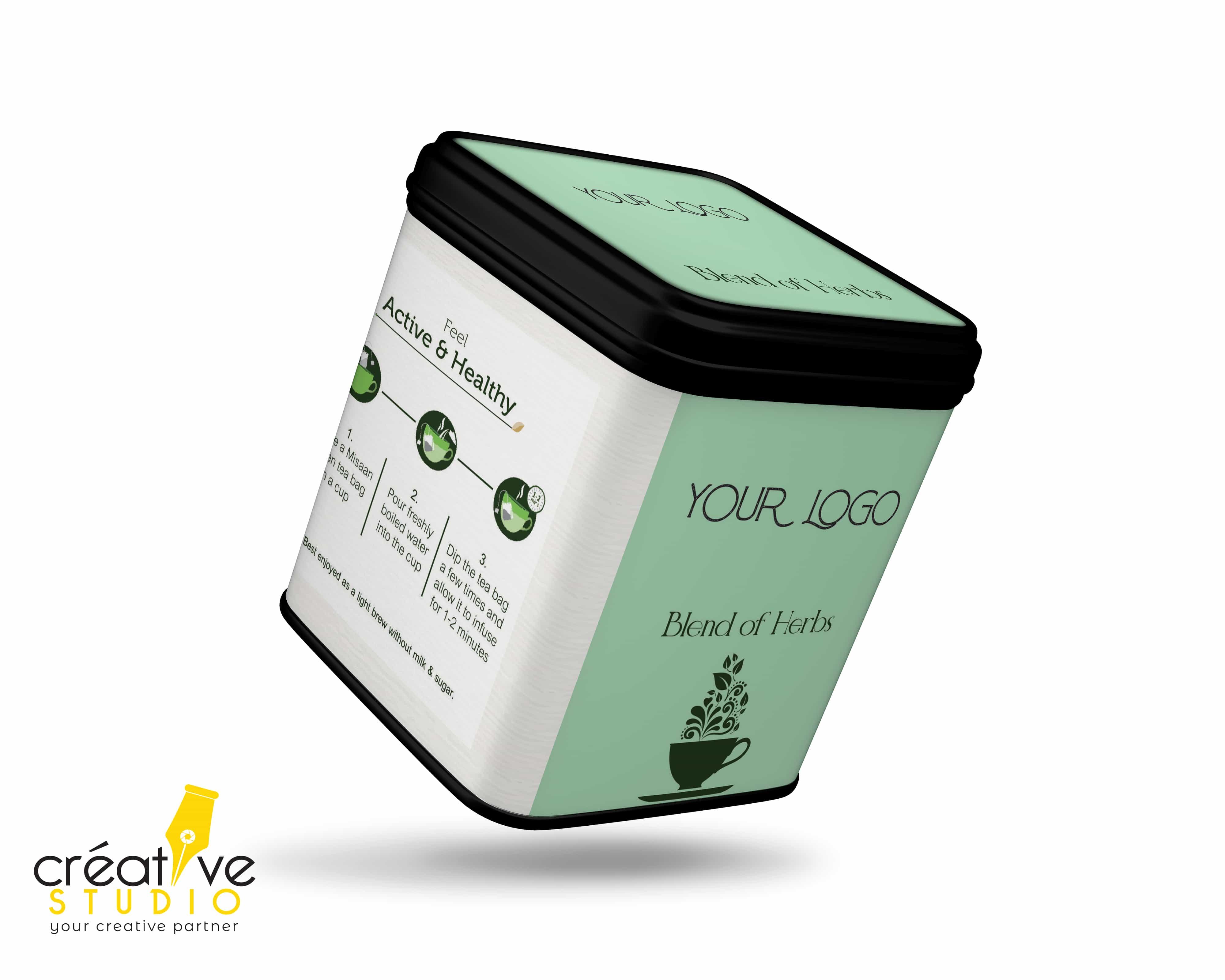 TEA TIN BOX 8 - Ready to Use Design